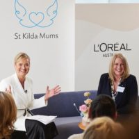 Martine Harte and Jessica MacPherson at St Kilda Mums Make A Mother's Day campaign official launch